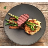 Grilled moose sous vide with potato gratin.