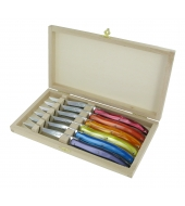 6 Laguiole table knives 2,5mm stainless steel blade double serrated, acrylic handle, mirror finish in wooden box